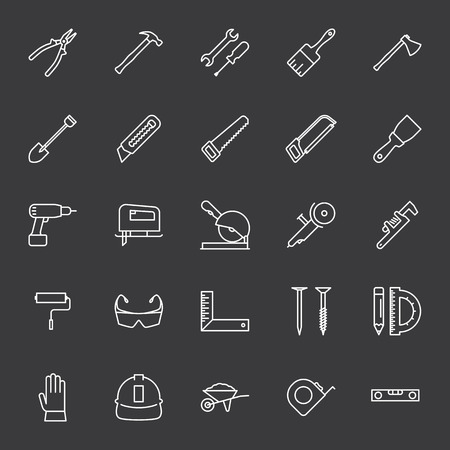 thin line construction tools icons set on dark background Иллюстрация