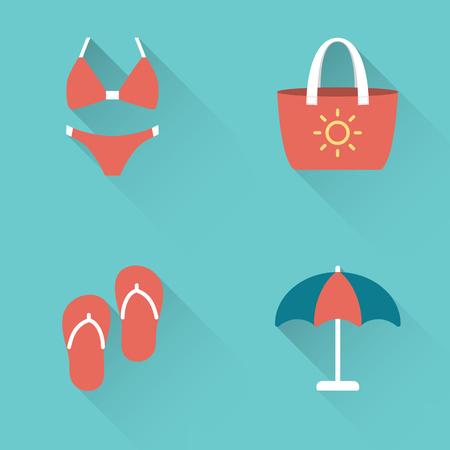 Flat beach holidays icons set on blue background