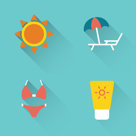 Flat summer sunbathing icons set on blue background