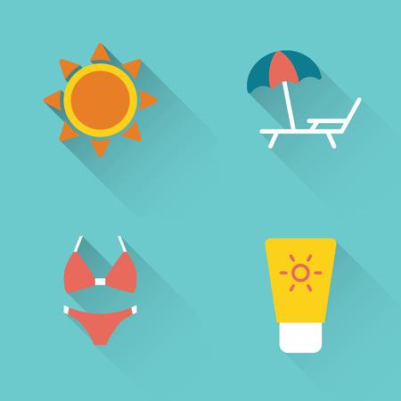 Flat summer sunbathing icons set on blue background