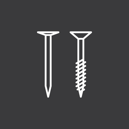 thin line screw and nail icon on dark background 矢量图像