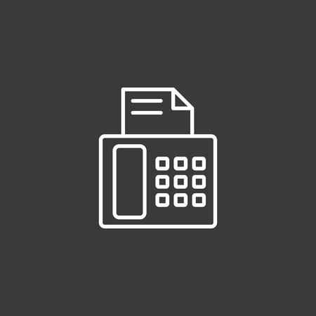 thin fax machine icon on dark background