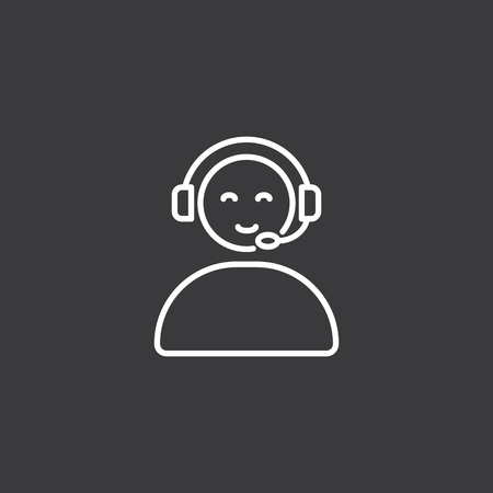thin line call center operator icon, online support