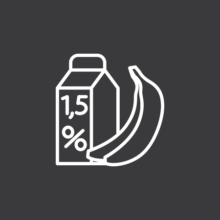 thin line low-calorie milk and banana icon on dark background Иллюстрация