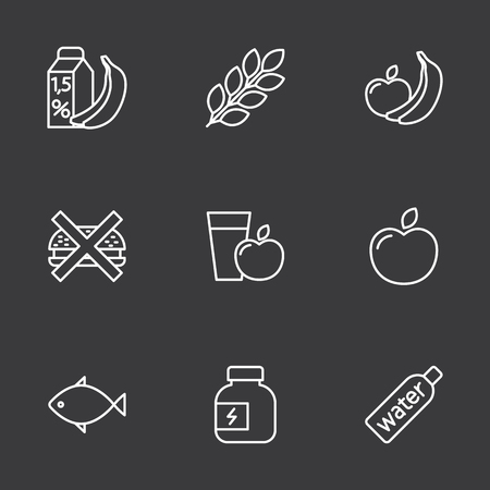 thin line fitness nutrition, low-calorie food icons set on dark background Иллюстрация