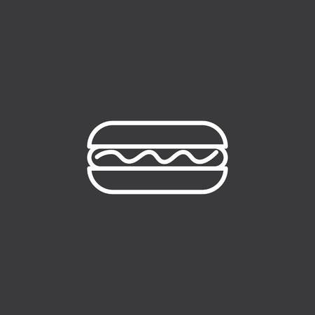 thin line hot dog icon on dark background