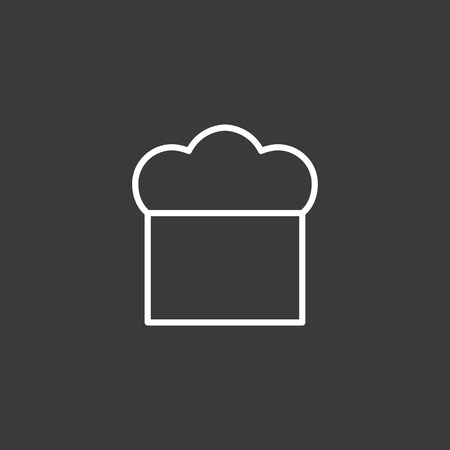 thin line chef hat icon on dark background