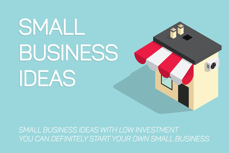flat concept small business illustration, local store vector banner on blue background