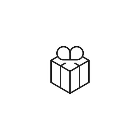 thin line gift icon on white background