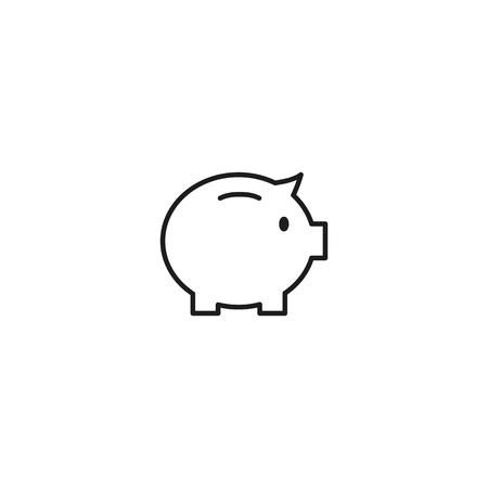 thin line piggy money box icon on white background