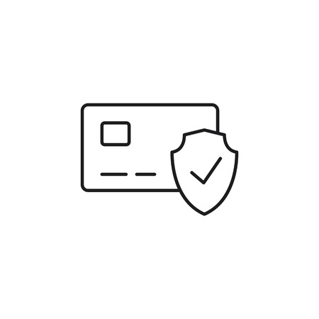 thin line secure payment icon on white background