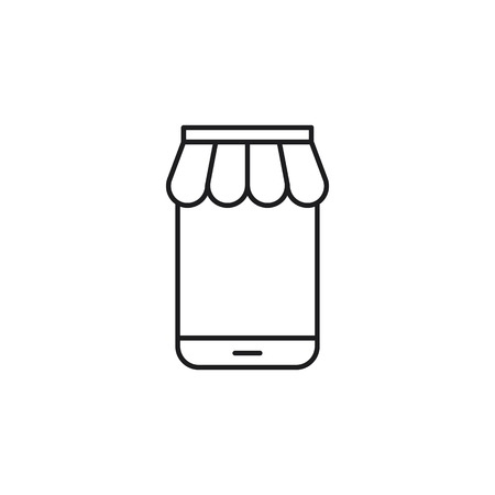 thin line online store on mobile icon on white background