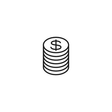 thin line pile of coins icon on white background