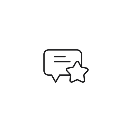 thin line comment rating icon on white background