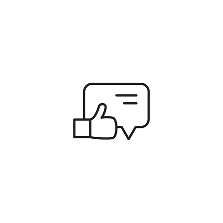 thin line comment like icon on white background