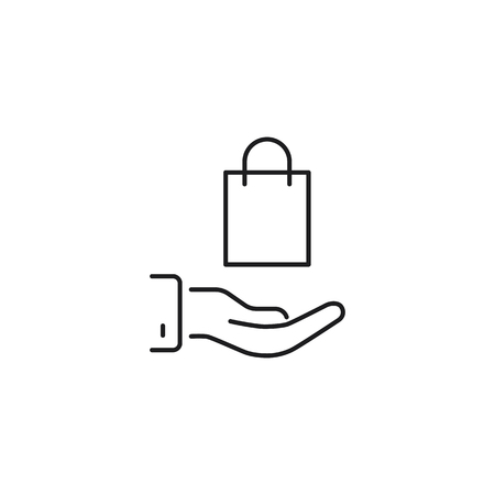 thin line shopping bag in hand illustration on white background