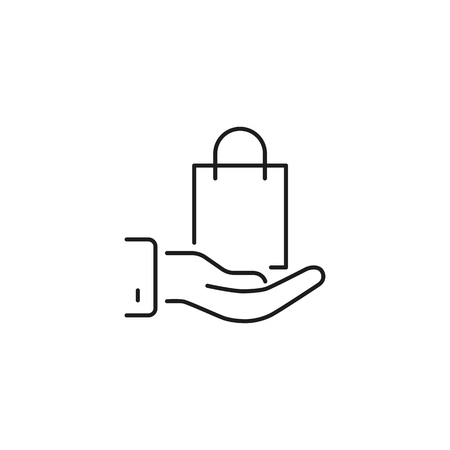 thin line shopping bag in hand icon on white background Illustration