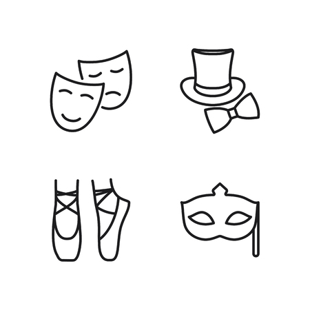 thin line theatre icons set on white background
