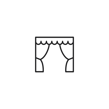 thin line theatre stage icon on white background