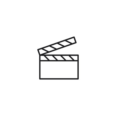 thin line cinema clapper icon on white background