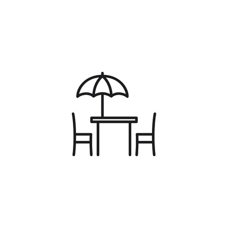 thin line cafe terrace icon on white background  イラスト・ベクター素材