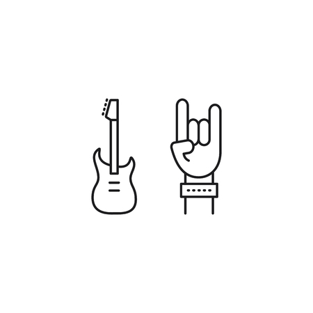 thin line rock concert icon on white background Illustration
