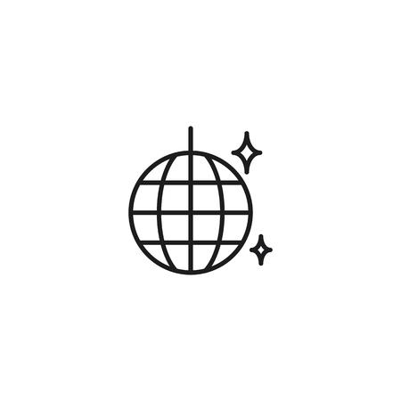 thin line disco ball icon on white background