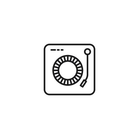 thin line dj turntable icon on white background
