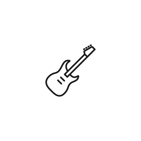 thin line electric guitar icon on white background 向量圖像