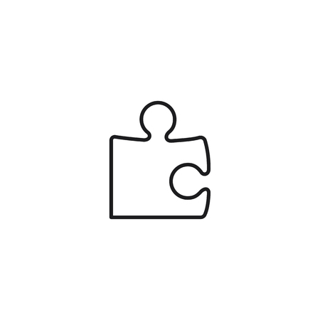 thin line puzzle icon on white background