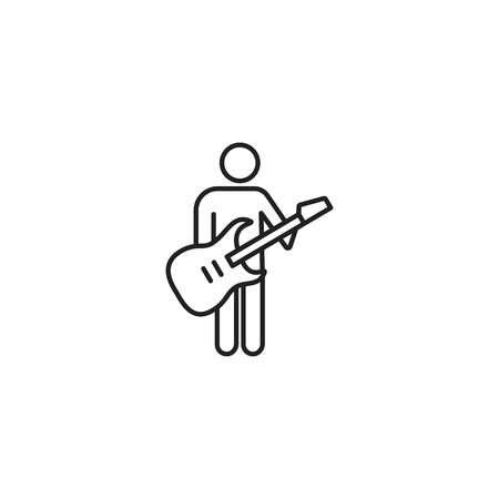 thin line guitarist icon on white background