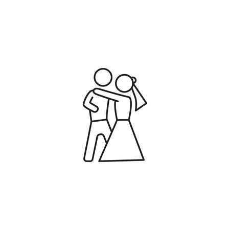 thin line dancing couple icon on white background