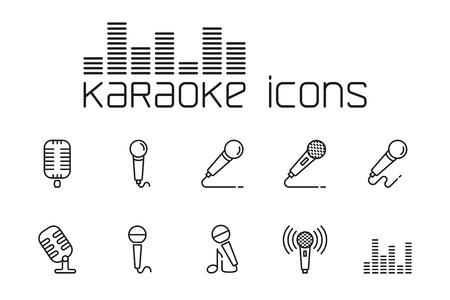 thin line karaoke icons set on white background
