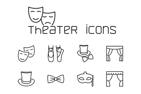 thin line theater icons set on white background Illusztráció