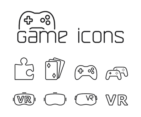 thin line game icons set on white background