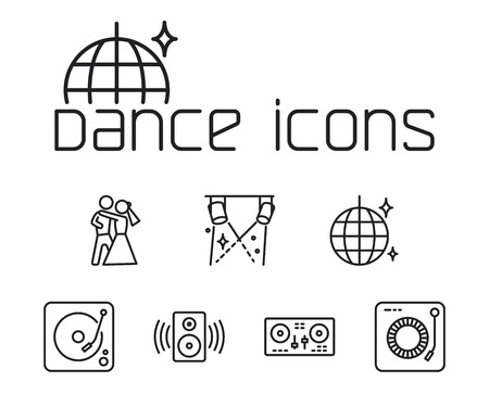thin line dance icons set on white background