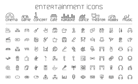 thin line entertainment icons set on white background