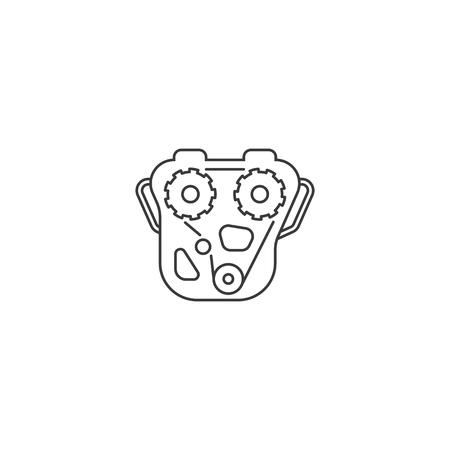 thin line engine icon on white background 向量圖像