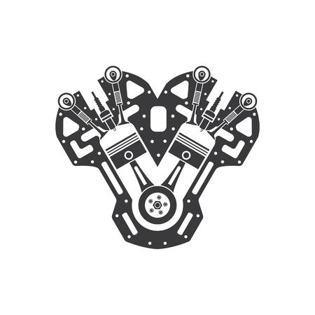 thin line engine icon on white background Illusztráció