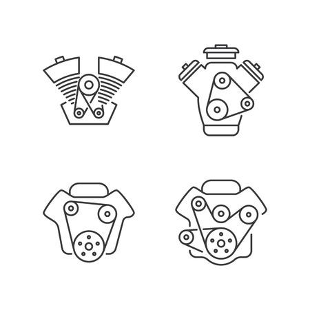 thin line engine icon on white background Illustration