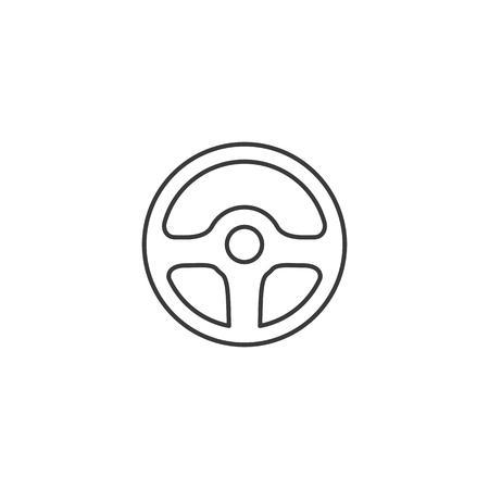 thin line wheel steering icon on white background