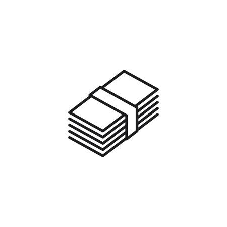 thin line stack of money icon on white background 向量圖像