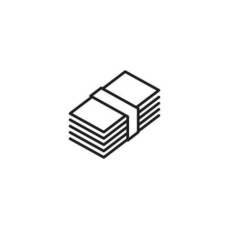 thin line stack of money icon on white background Illusztráció