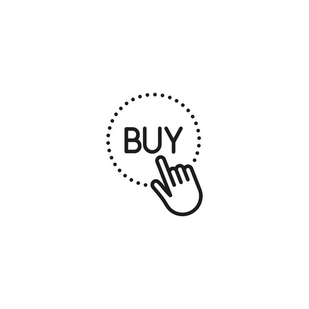 thin line hand touch buy button icon on white background