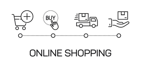 thin line online shopping process illustration on white background