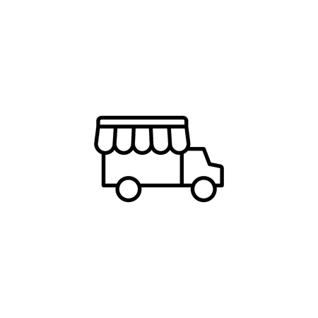 thin line street food truck icon on white background