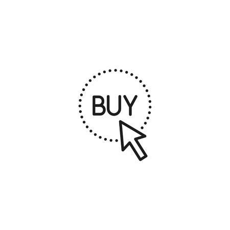 thin line arrow on buy button icon on white background