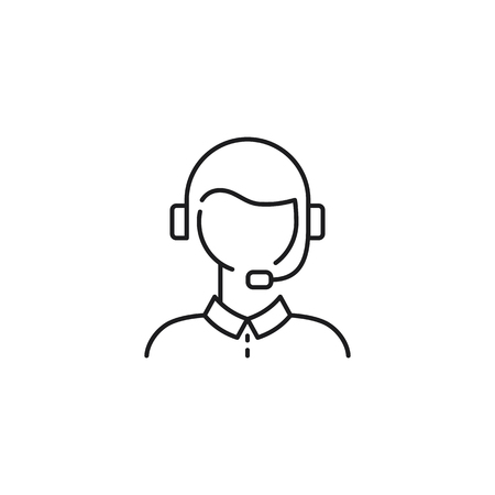 male customer support thin line icon on white background