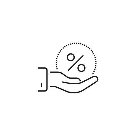 discount in hand thin line icon on white background