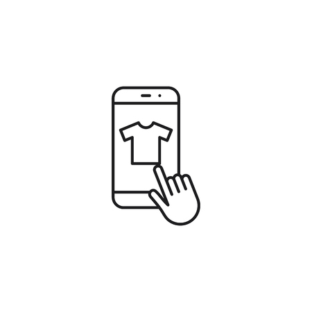 buy online thin line icon on white background 向量圖像